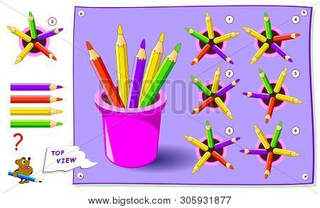 Logic puzzle game for kids. Need to find correct top view of pencils. Worksheet for school textbook. Printable page for brainteaser book. Development of children spatial thinking skills. stock photo