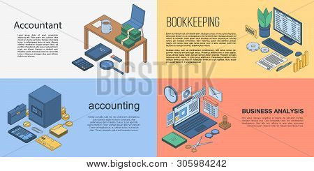 Accountant banner set. Isometric set of accountant vector banner for web design stock photo