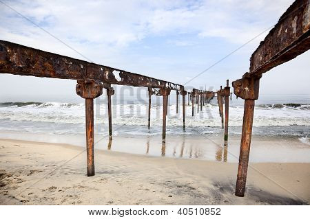bridge oil on the beaches of Allepey stock photo