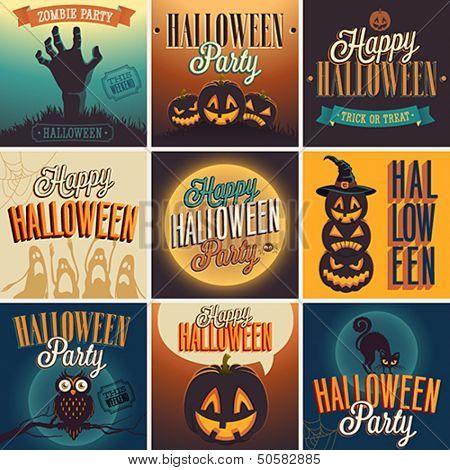Halloween Posters set. Vector representation.