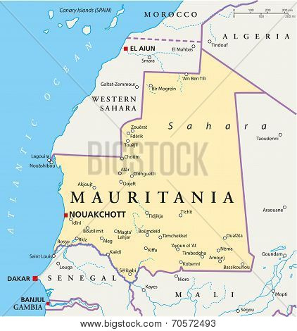 Mauritania Political Map with capital Nouakchott, national borders, most important cities, rivers and lakes. Illustration with labeling and scaling. stock photo