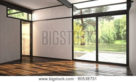 3D Rendering of Architectural background of a modern empty room with floor-to ceiling window overloo