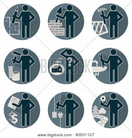 House remodel service worker set flat round symbolic icons in blue colors Workers repair team Architect designer insurers foreman plumber electrician mason tiler carpenter builder finisher painter gardener landscaping stock photo