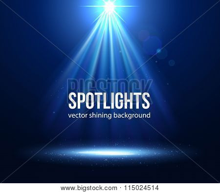 Vector scene illuminated spotlight. Dark spotlight. Stage spotlight. Spotlight background vector. Sp