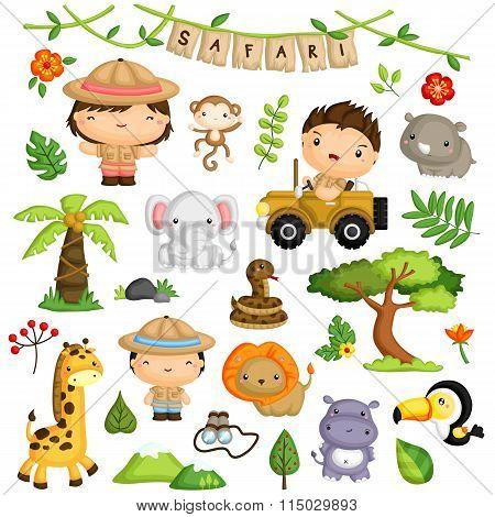 Safari Forest Kids and Animal Vector Set