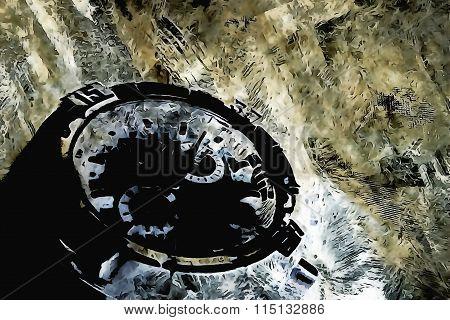 Mounted in crystal lattice watch design artifact, gold silver platinum blackening art illustration stock photo
