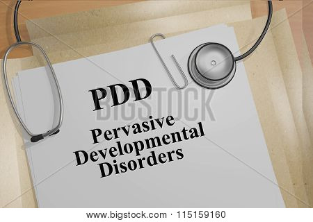 Render illustration of PDD (Pervasive Developmental Disorders) title on medical documents stock photo
