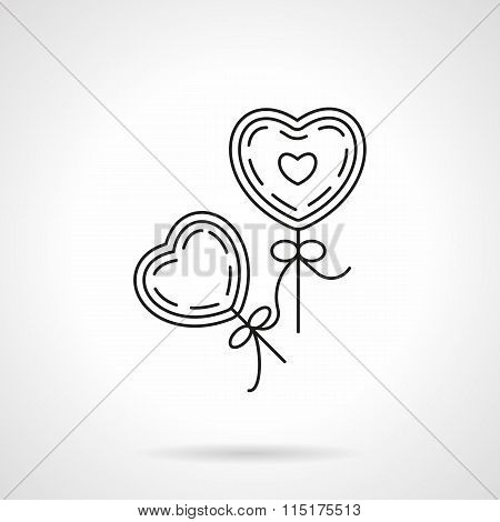 Two heart shape balloons with bows. Romantic gift and decor. Valentines Day theme. Vector icon flat thin line style. Element for web design, business, mobile app. stock photo
