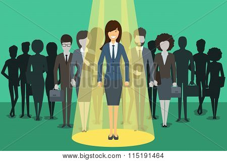 Businesswoman in spotlight. Picking the right candidate professional vector concept background