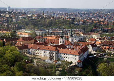 PRAGUE CZECH REPUBLIC - APRIL 24 2013: The aerial view of Strahov Monastery from Petrin Hill. Prague Czech Republic stock photo