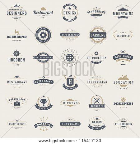 Vintage Logos Design Templates Set. Vector design elements