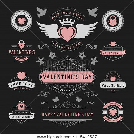 Valentine\'s Day Labels and Cards Set, Heart Icons Symbols, Greetings Cards, Silhouettes