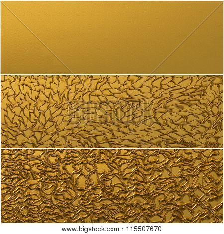 Gold background. Three banners. Floral and abstract element. stock photo