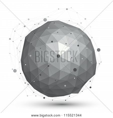3D vector abstract design object orbital complicated figure with lines mesh isolated on white background. stock photo