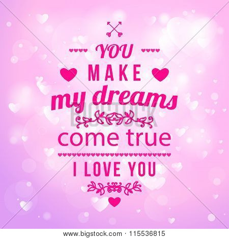 Happy Valentines Day Card Design. 14 February. I Love You. Vector illustration Blurred Soft Background. stock photo