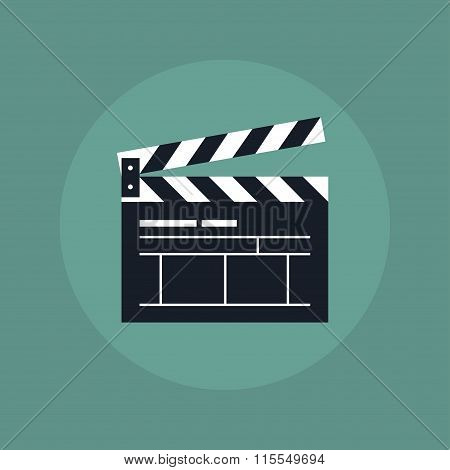 Clapper board icon. Clapper board in flat style. Open clapper board. Movie clapper board. Clapper board icon on color background. Clapper board sign to indicate videos and movies. stock photo