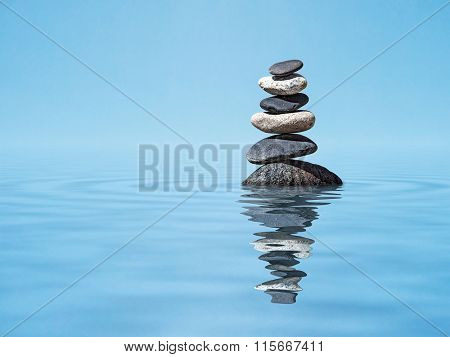 Zen meditation relaxation peacefulness peace of mind concept background -  balanced stones stack in