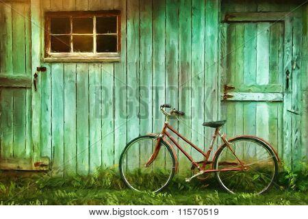 Peinture numérique de vieux vélo contre grange
