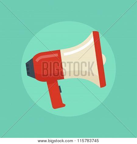 Loudspeaker vector illustration. Megaphone flat symbol. Loudspeaker in a flat style. Concept of promotion advertising communication. Megaphone icon. Loudspeaker icon. Megaphone isolated. stock photo