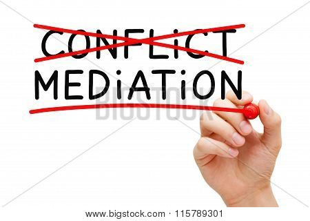 Hand writing Mediation concept with marker on transparent wipe board. Mediation - to resolve or settle differences by working with all the conflicting parties. stock photo