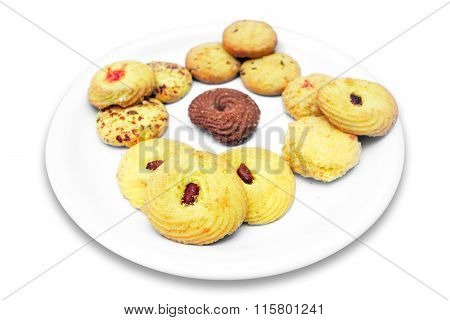 Biscuits in plate isolated on white background stock photo