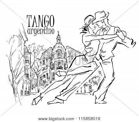 Hand made sketch of tango dancers with city background. Vector illustration. Use for tango studio posters, flayers, web-sites. Tango inscription. stock photo