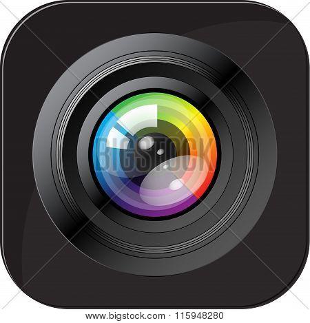 Camera icon. Photo icon. Button. Vector Illustration stock photo