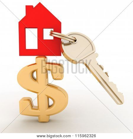 The house with a key on a dollar sign. Concept real estate prices in the world stock photo