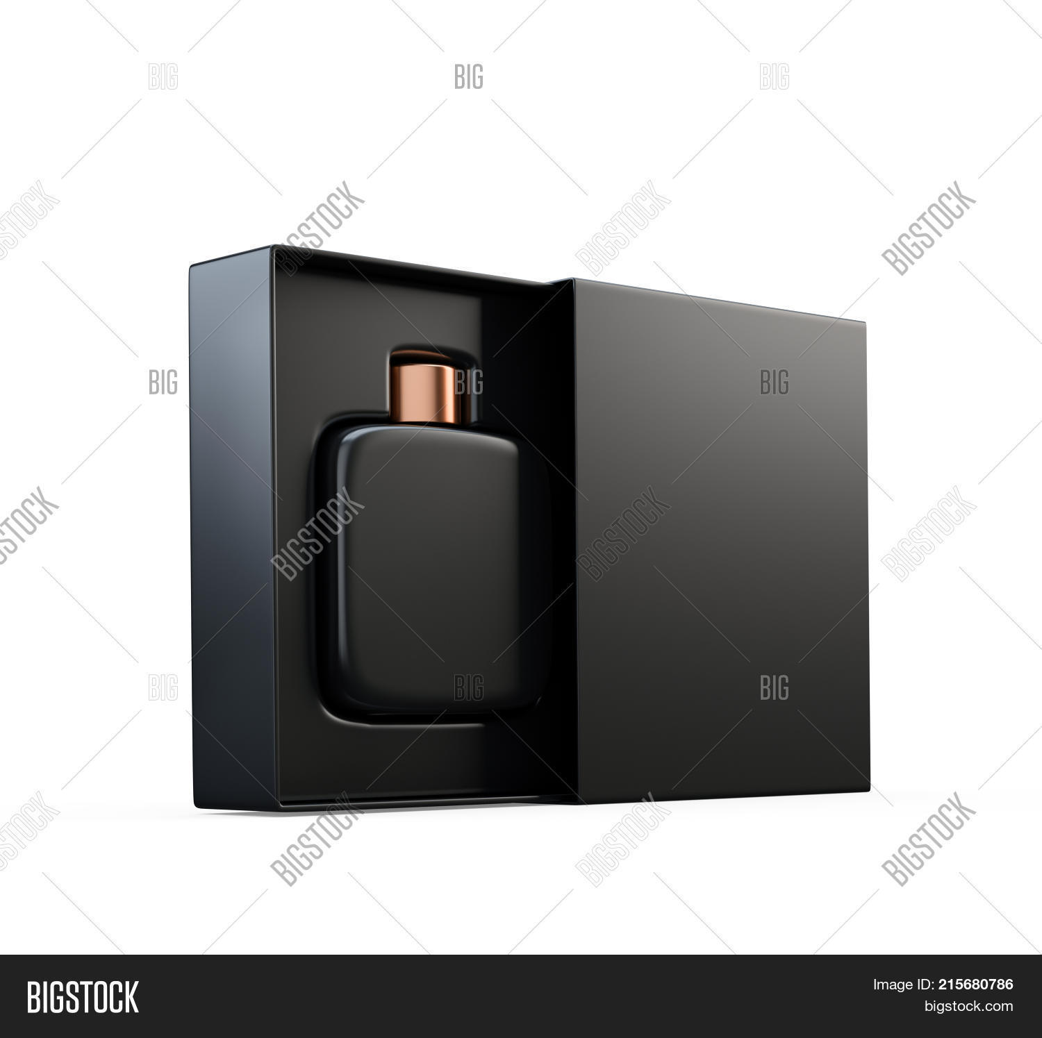 Black Fragrance Perfume Bottle Mockup In Open Box Isolated On