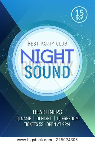 Electro dance party music night poster template. Electro style concert disco club party event invitation. stock photo