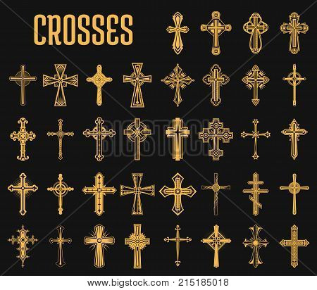 Crosses of christian religion. Set of isolated orthodoxy and catholicism divine symbols in shape of cross, Jesus Christ and God, faith sign. Church and pray, religion and resurrection, believe theme