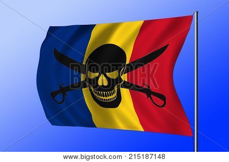 Waving Romanian flag combined with the black pirate image of Jolly Roger with cutlasses stock photo