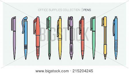 Office supplies collection. Pens set. Writing tools. Outline style. Ballpoint thin line vector icons. Biro, Fountain pen, gel pen, ballpoint pen, capillary pen. Back to school. Writing materials Vector stock photo