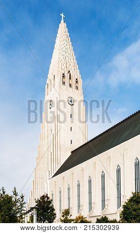 travel to Iceland - tower of Hallgrimskirkja church in Reykjavik city in september stock photo