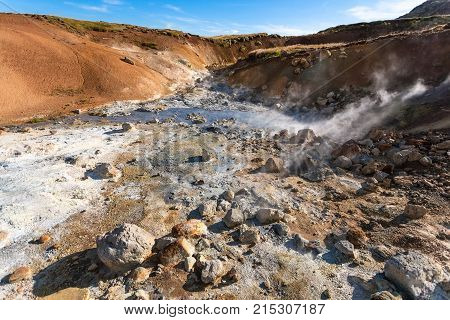 travel to Iceland - acidic hot springs in geothermal Krysuvik area on Southern Peninsula (Reykjanesskagi Reykjanes Peninsula) in september stock photo