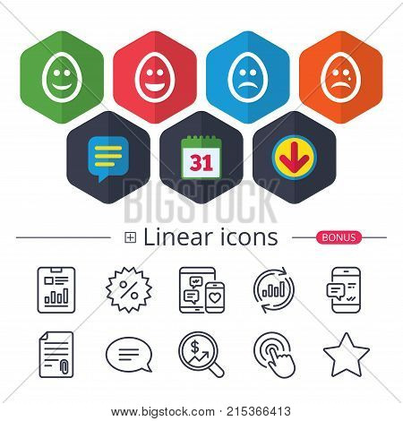Calendar, Speech bubble and Download signs. Eggs happy and sad faces icons. Crying smiley with tear symbols. Tradition Easter Pasch signs. Chat, Report graph line icons. More linear signs. Vector stock photo