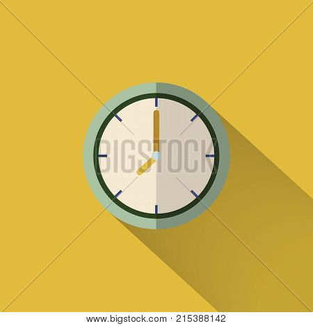 Clock icon design. Vector office clock icon with shadow. Eight o'clock stock photo