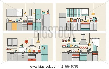 Collection of kitchens furnished with modern furniture, household appliances, cooking facilities and utensils. Set of modern home interiors drawn in line art style. Colorful vector illustration. stock photo