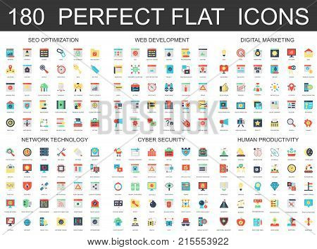 180 modern flat icons set of seo optimization, web development, digital marketing, network technology, cyber security and productivity icons