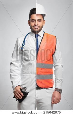 Combined studio portrait of a young bearded handsome man dressed as a doctor and professional engineer in safety vest and hardhat professions occupation jobs career medicine building architecture. stock photo