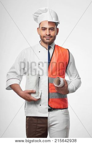 Combined shot of a young hispanic handsome man dressed as a chef and a professional architect wearinh safety vest and hardhat holding blueprints profession occupation hobby cooking food concept. stock photo