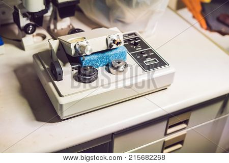 precision micrometer grinder polishing machine that can produce polished surface for microscopic investigation stock photo