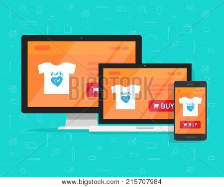 Responsive internet shop design, online store web site page showed on desktop pc, laptop and smartphone, ecommerce shop website on pc and mobile phone, flat cartoon style e-commerce development