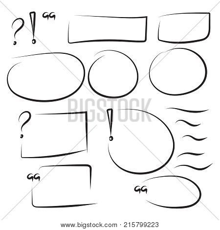 Set hand drawn rectangle, quotes, circle, question, exclamation mark, underline felt-tip pen objects. Text box and frames. Vector handdrawn elements. stock photo