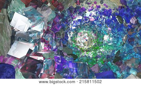 Abstract painting inspired by O'Neill cylinder. 3D rendering stock photo