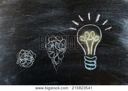 Chalkboard with Chalk Drawing of Hanging Light Bulb. Bright idea on blackboard concept. Way of thinking the birth of idea. Creative bright unusual interesting idea. Eureka thought flash inspiration.
