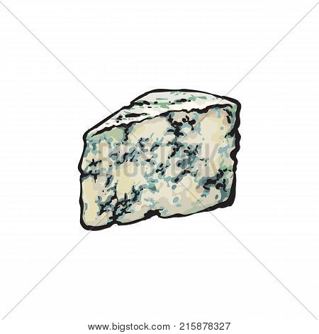 Hand-drawn wedge, piece of Roquefort, Stilton, Gorgonzola blue cheese, sketch style vector illustration on white background. Realistic hand drawing of Roquefort, Stilton, Gorgonzola blue cheese stock photo