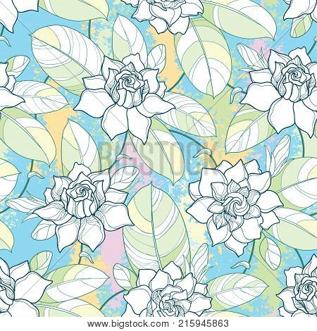 Vector seamless pattern with outline Gardenia flower in pastel color. Ornate bud and leaves on the textured pastel background. Floral pattern with contour style Gardenia for elegance summer design.