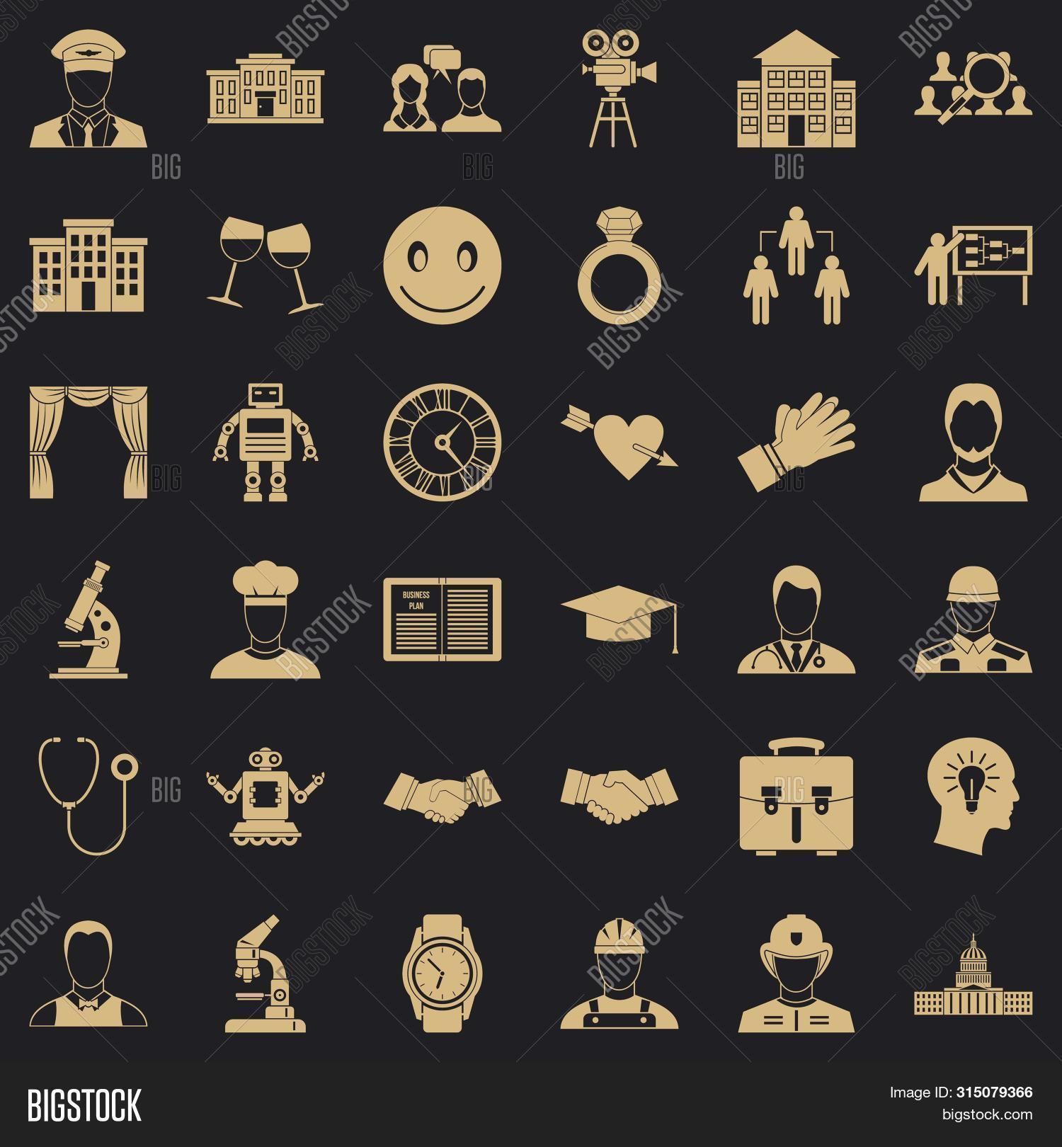Applause Icons Set. Simple Style Of 36 Applause Icons For Web For Any Design