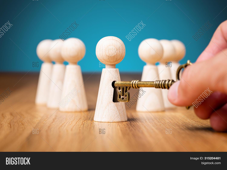 Coach Unlock Potential - Motivation Concept. Coach (manager, Mentor, Hr Specialist) Unlock Leader Po